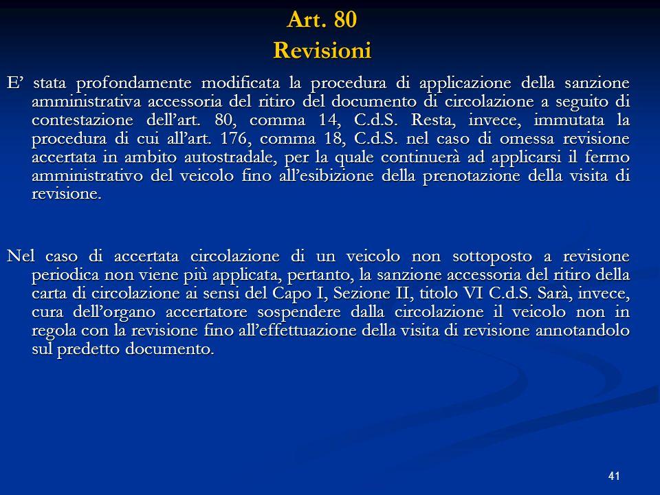 Art. 80 Revisioni