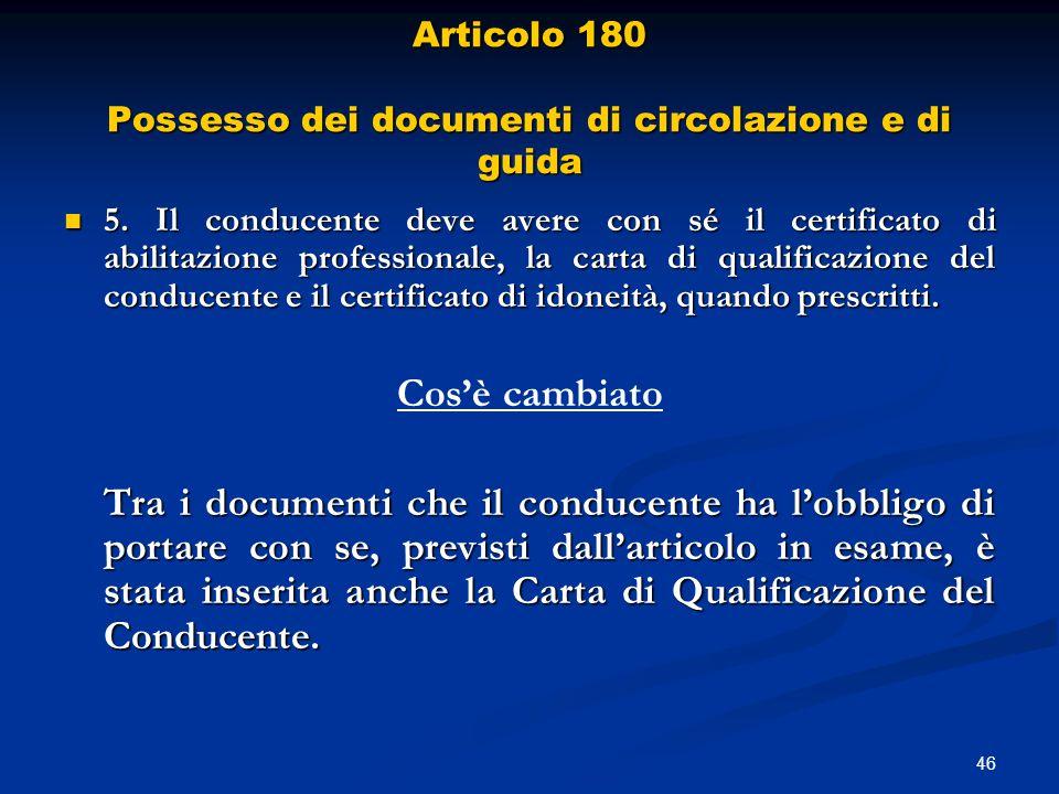 Articolo 180 Possesso dei documenti di circolazione e di guida