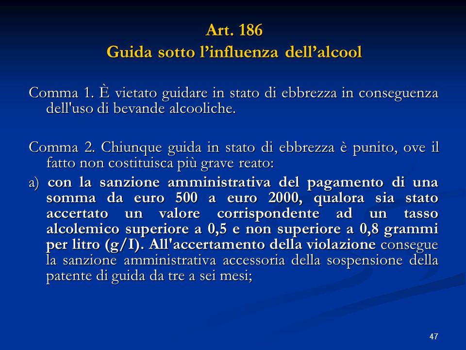 Art. 186 Guida sotto l'influenza dell'alcool