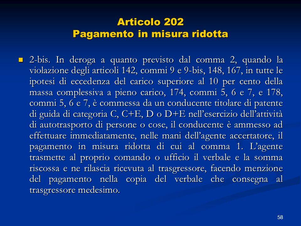 Articolo 202 Pagamento in misura ridotta