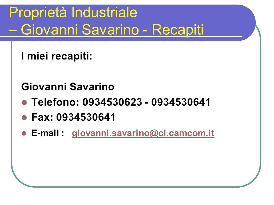 Proprietà Industriale – Giovanni Savarino - Recapiti