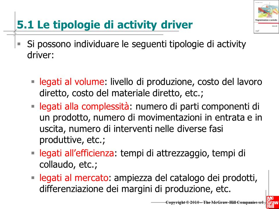 5.1 Le tipologie di activity driver