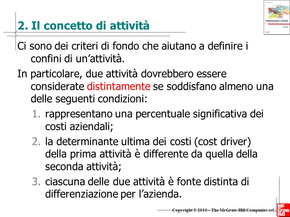 2. Il concetto di attività