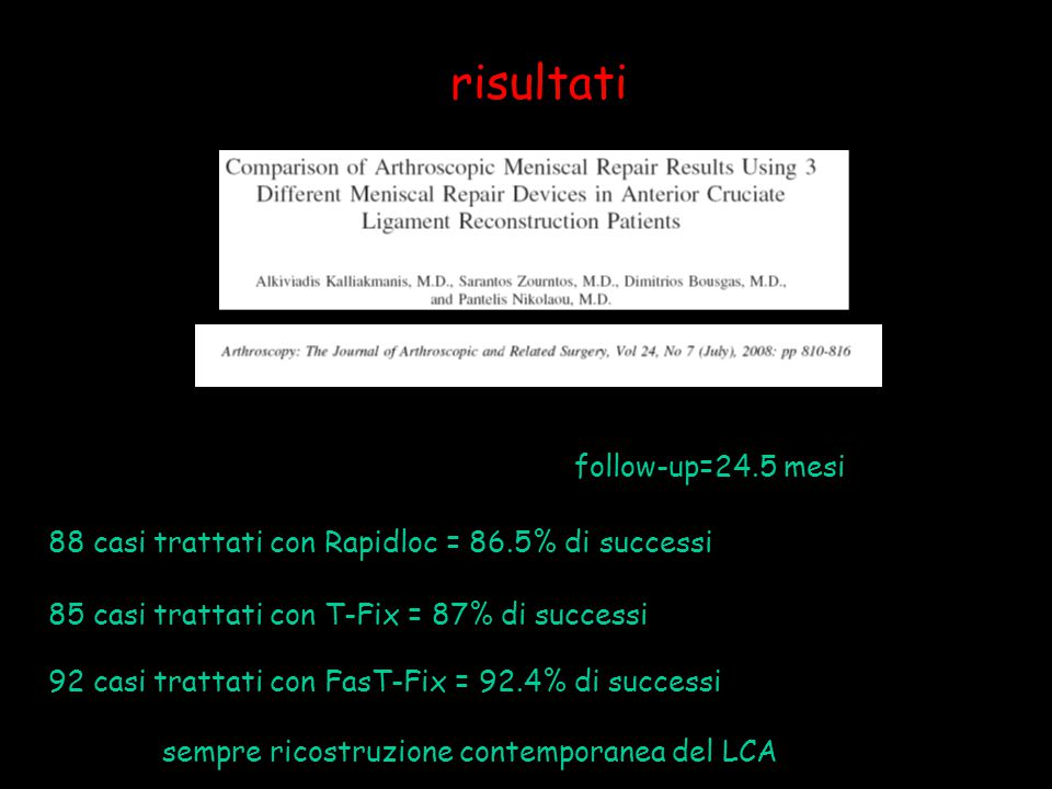 risultati follow-up=24.5 mesi