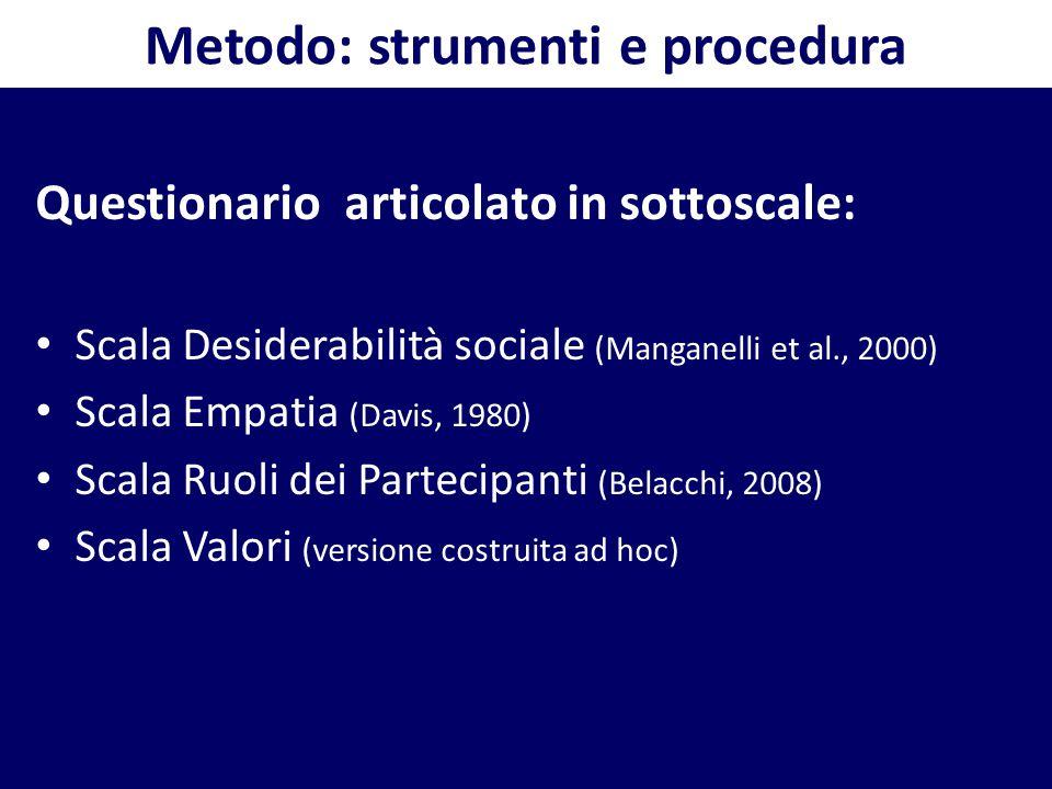 Metodo: strumenti e procedura