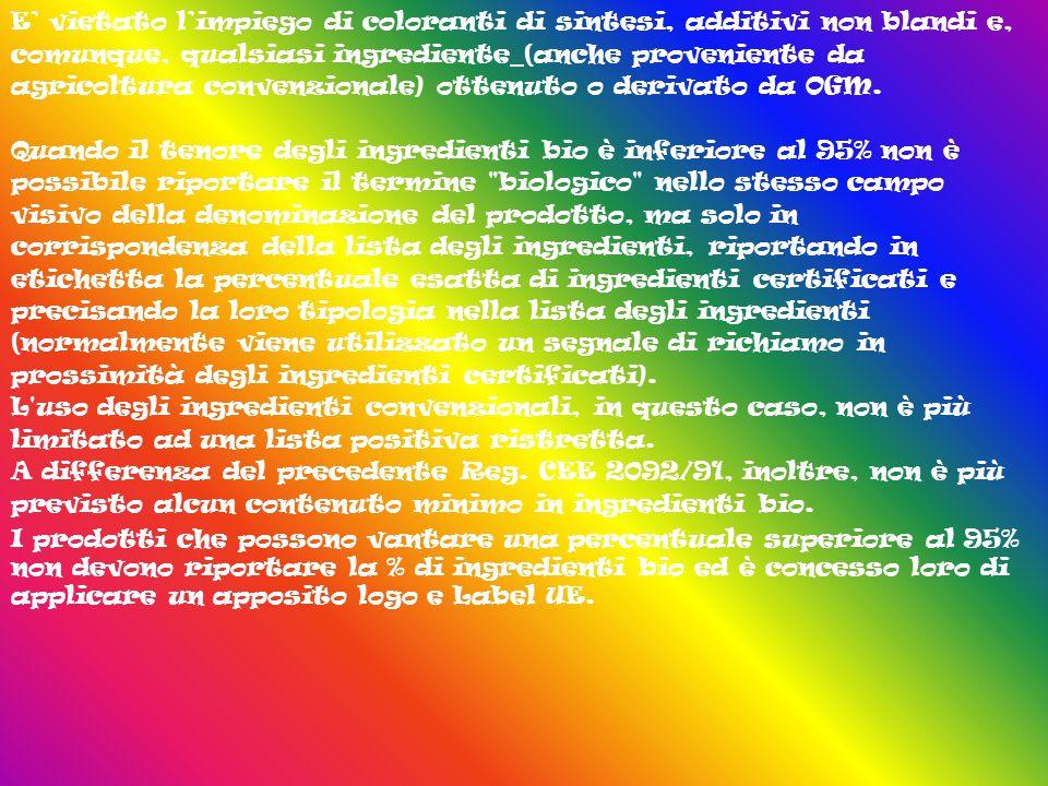 E' vietato l'impiego di coloranti di sintesi, additivi non blandi e, comunque, qualsiasi ingrediente (anche proveniente da agricoltura convenzionale) ottenuto o derivato da OGM.