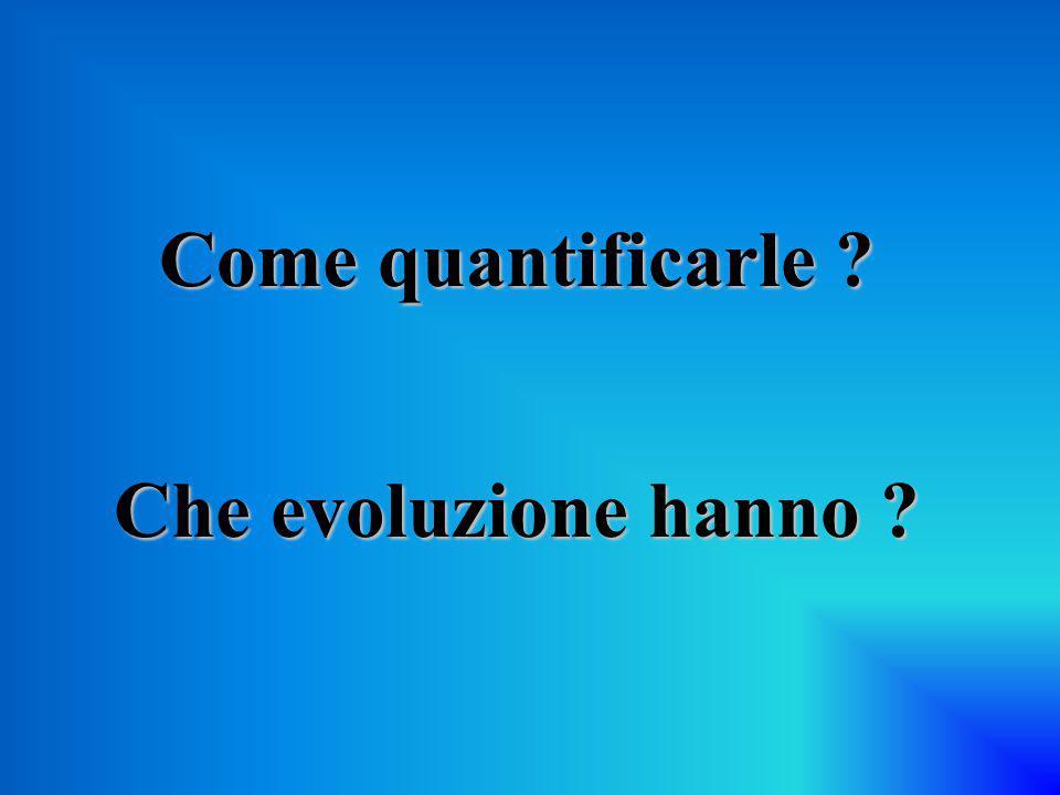 Come quantificarle Che evoluzione hanno