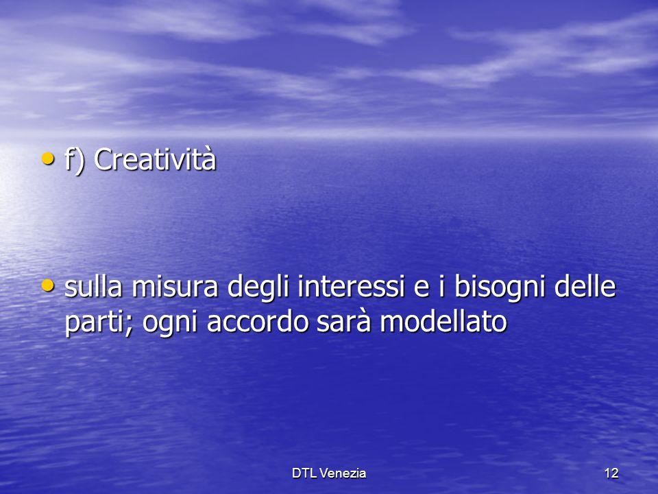 f) Creatività sulla misura degli interessi e i bisogni delle parti; ogni accordo sarà modellato.