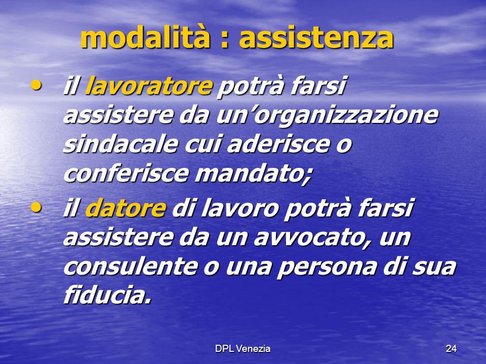 modalità : assistenza il lavoratore potrà farsi assistere da un'organizzazione sindacale cui aderisce o conferisce mandato;