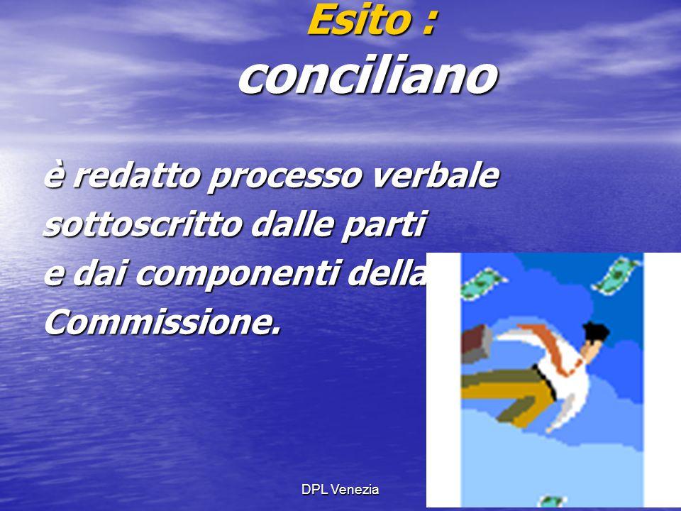 Esito : conciliano è redatto processo verbale sottoscritto dalle parti