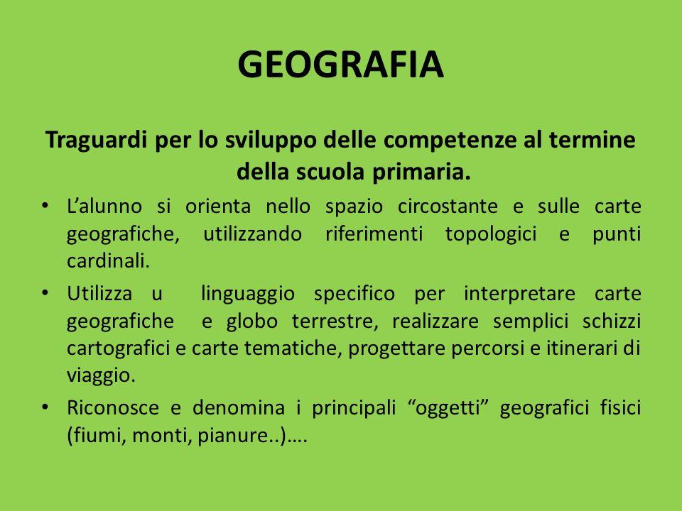 GEOGRAFIA Traguardi per lo sviluppo delle competenze al termine della scuola primaria.
