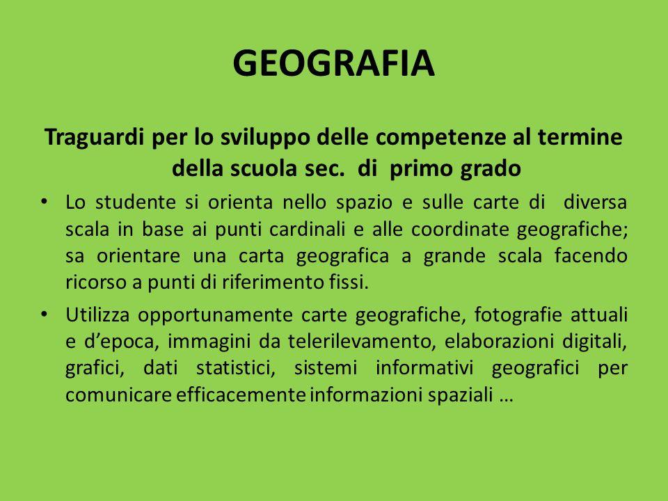 GEOGRAFIA Traguardi per lo sviluppo delle competenze al termine della scuola sec. di primo grado.