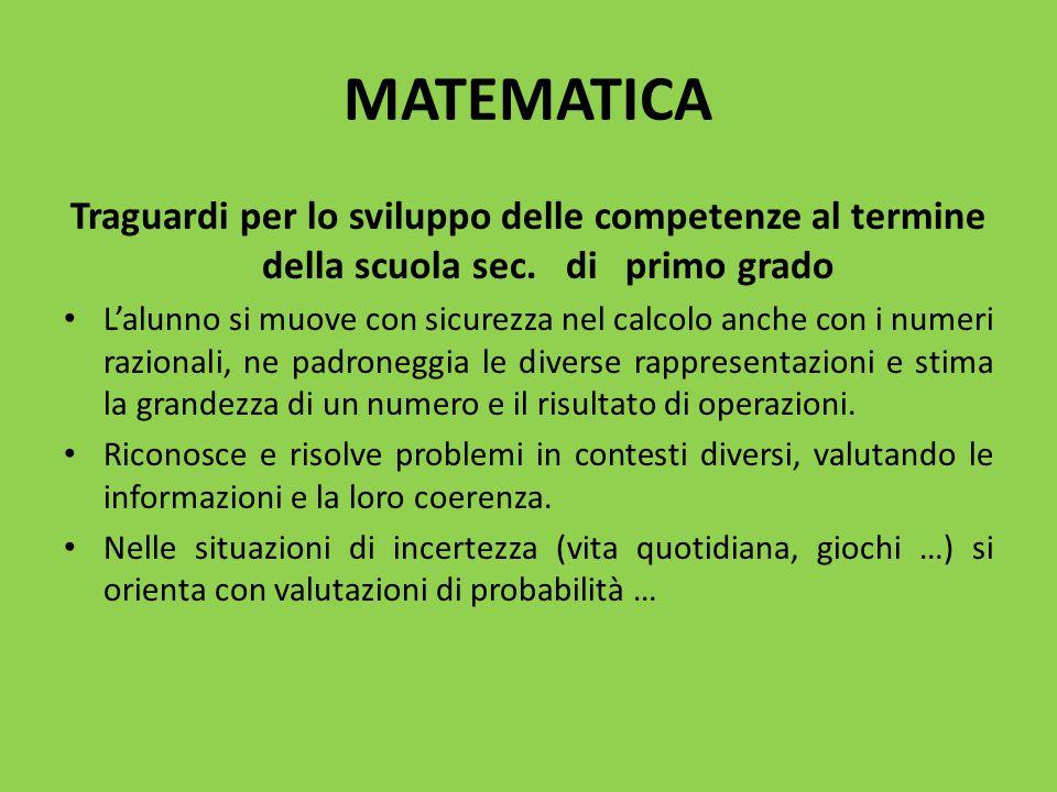 MATEMATICA Traguardi per lo sviluppo delle competenze al termine della scuola sec. di primo grado.