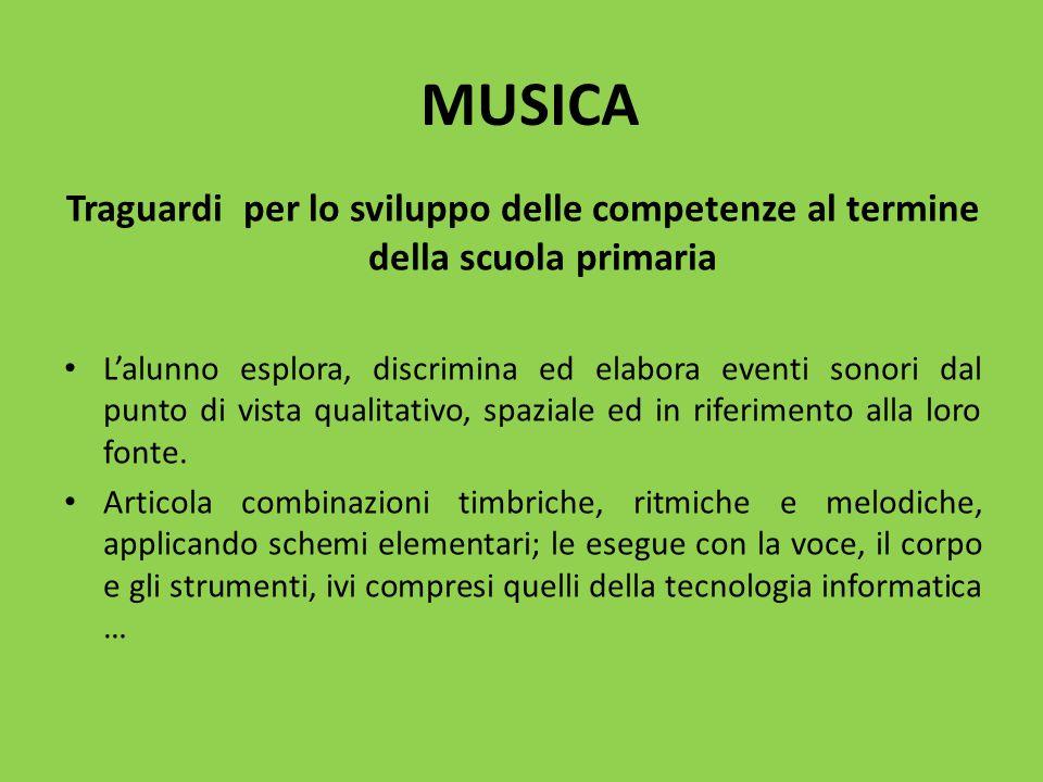 MUSICA Traguardi per lo sviluppo delle competenze al termine della scuola primaria.