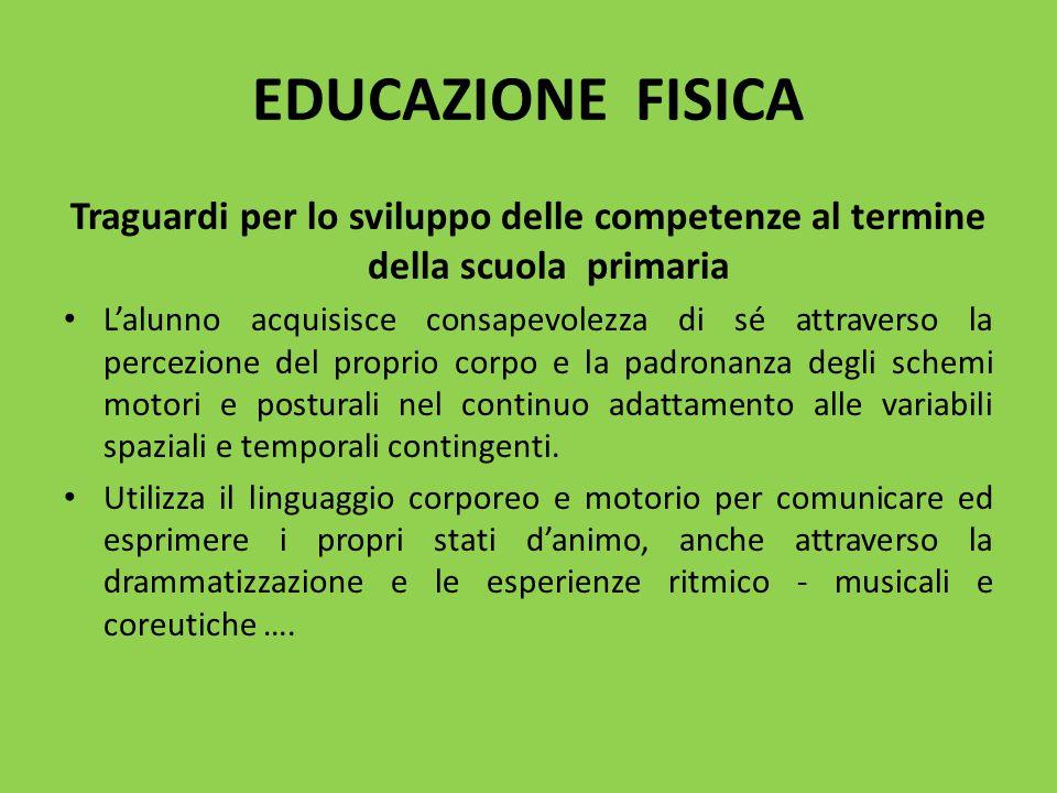 EDUCAZIONE FISICA Traguardi per lo sviluppo delle competenze al termine della scuola primaria.