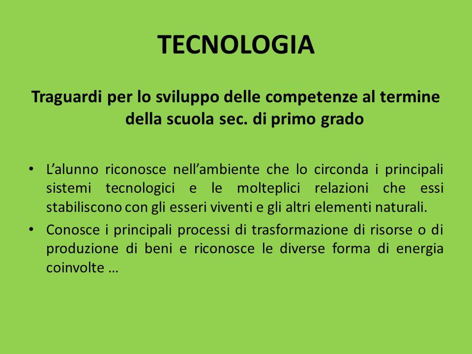 TECNOLOGIA Traguardi per lo sviluppo delle competenze al termine della scuola sec. di primo grado.