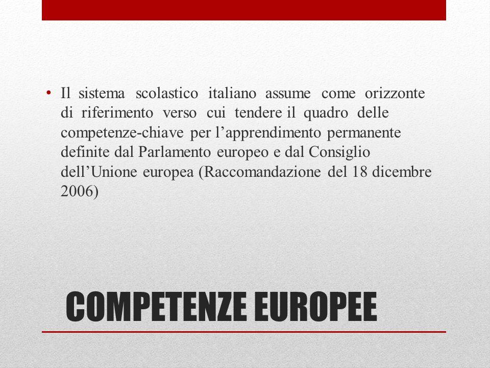 Il sistema scolastico italiano assume come orizzonte di riferimento verso cui tendere il quadro delle competenze-chiave per l'apprendimento permanente definite dal Parlamento europeo e dal Consiglio dell'Unione europea (Raccomandazione del 18 dicembre 2006)
