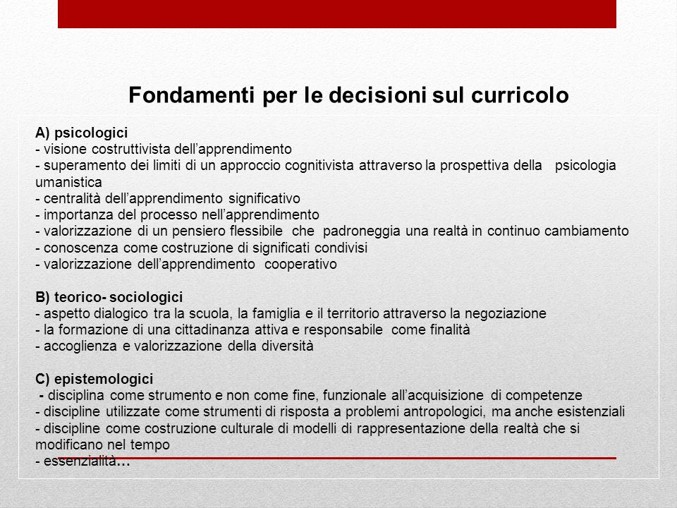 Fondamenti per le decisioni sul curricolo