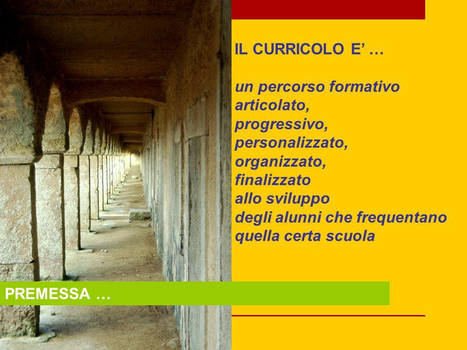 IL CURRICOLO E' … un percorso formativo. articolato, progressivo, personalizzato, organizzato, finalizzato.