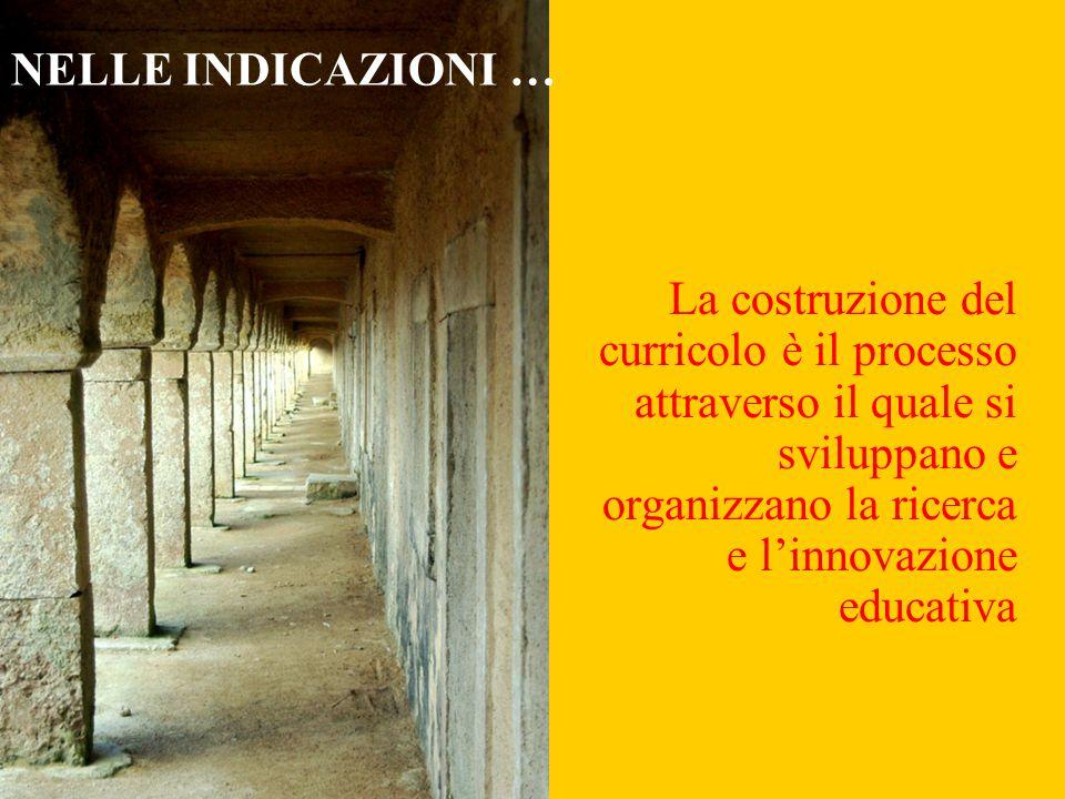 NELLE INDICAZIONI … La costruzione del curricolo è il processo attraverso il quale si sviluppano e organizzano la ricerca e l'innovazione educativa.