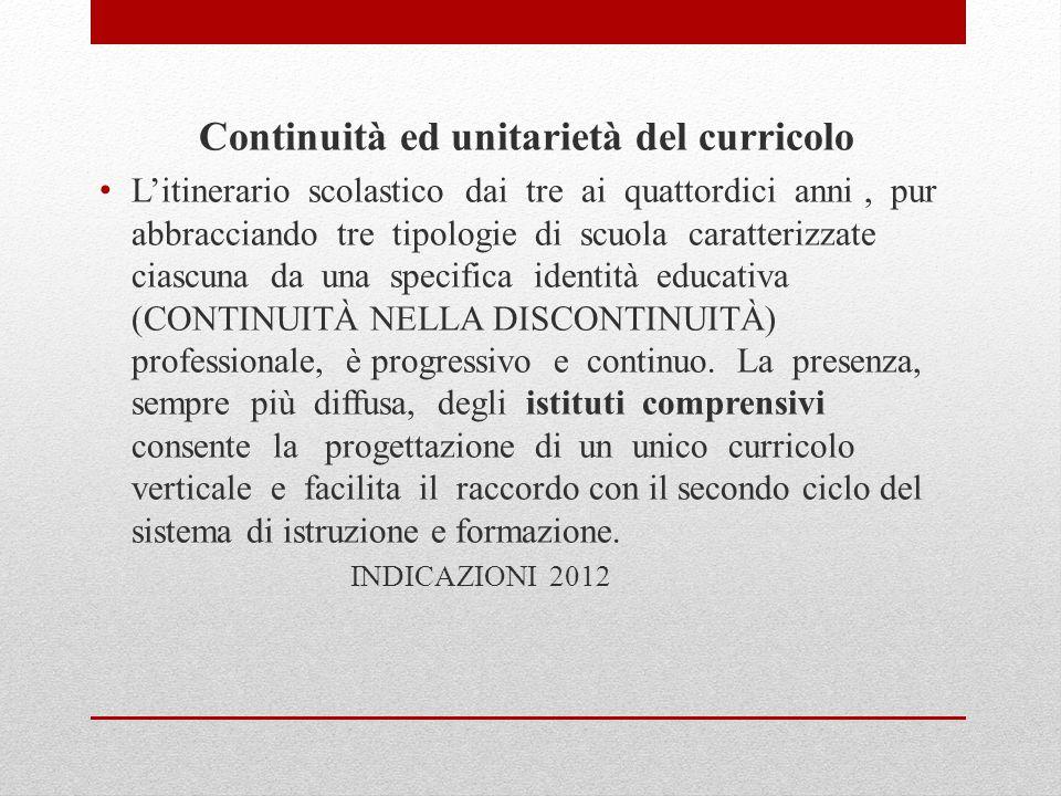 Continuità ed unitarietà del curricolo