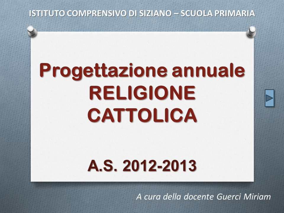 Progettazione annuale RELIGIONE CATTOLICA