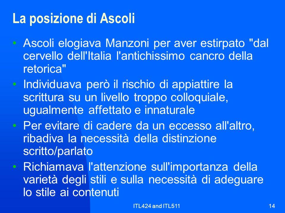 La posizione di Ascoli Ascoli elogiava Manzoni per aver estirpato dal cervello dell Italia l antichissimo cancro della retorica