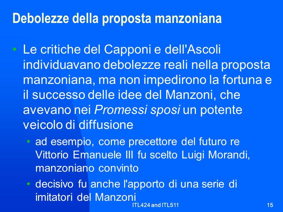 Debolezze della proposta manzoniana