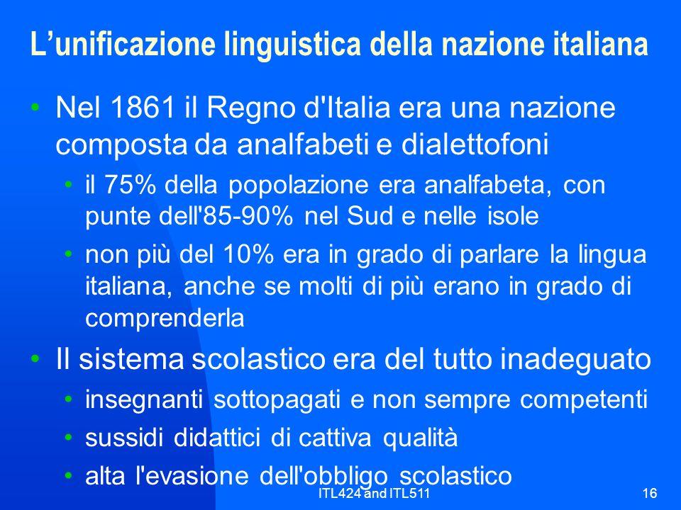 L'unificazione linguistica della nazione italiana