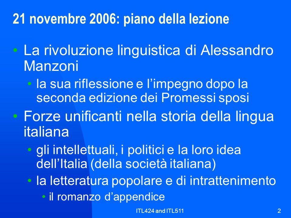 21 novembre 2006: piano della lezione