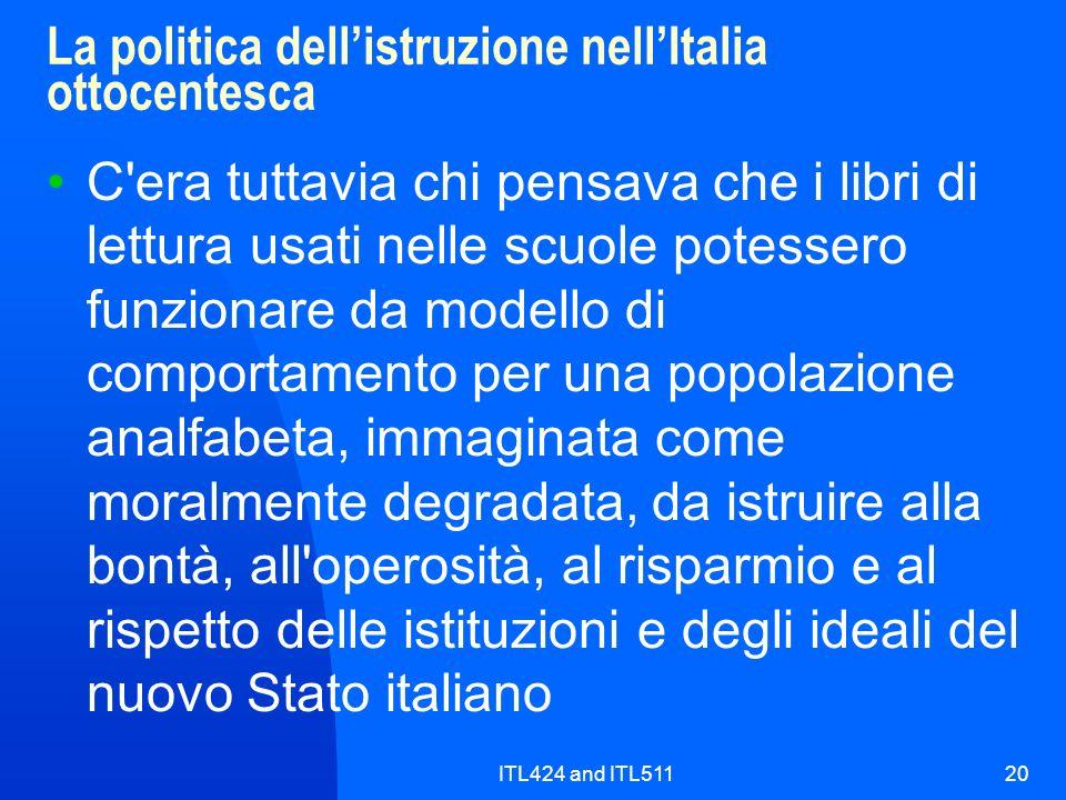 La politica dell'istruzione nell'Italia ottocentesca