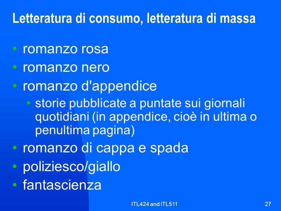 Letteratura di consumo, letteratura di massa