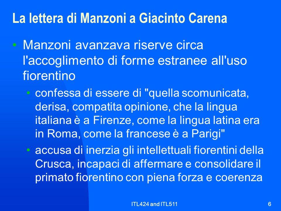 La lettera di Manzoni a Giacinto Carena