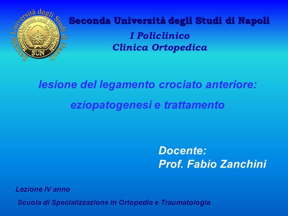 lesione del legamento crociato anteriore: eziopatogenesi e trattamento