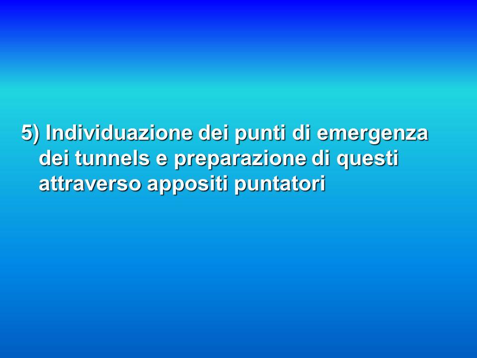 5) Individuazione dei punti di emergenza dei tunnels e preparazione di questi attraverso appositi puntatori