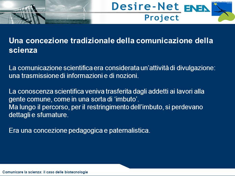 Una concezione tradizionale della comunicazione della scienza