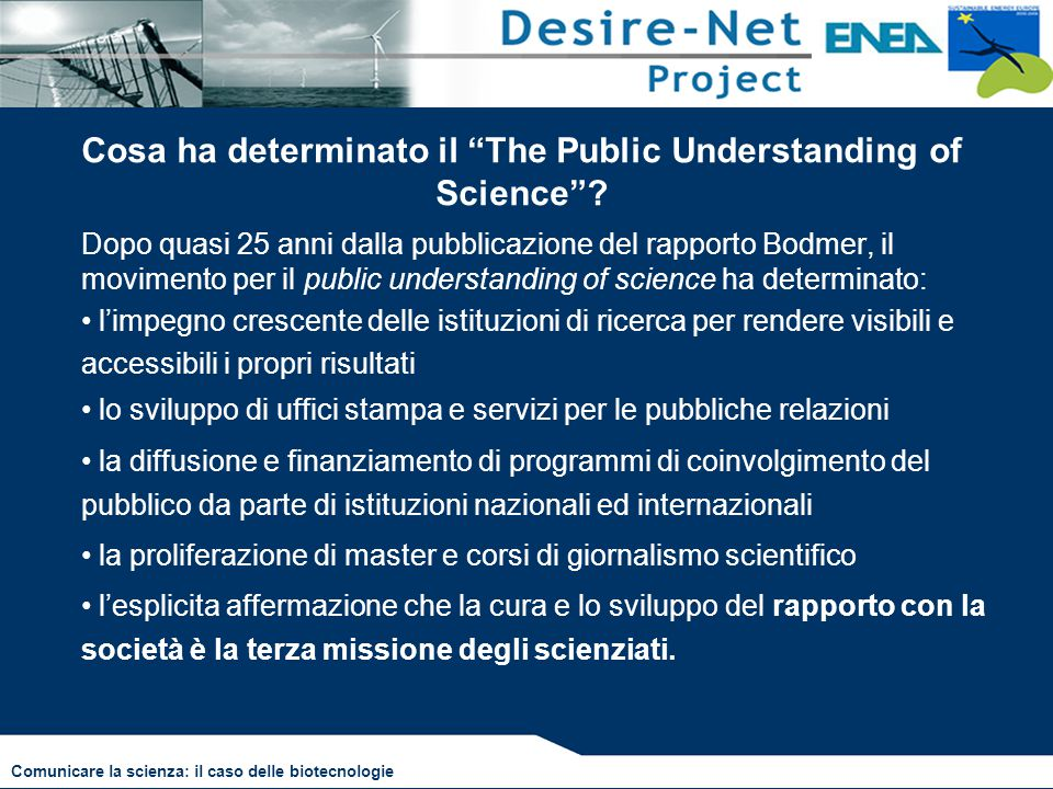 Cosa ha determinato il The Public Understanding of Science