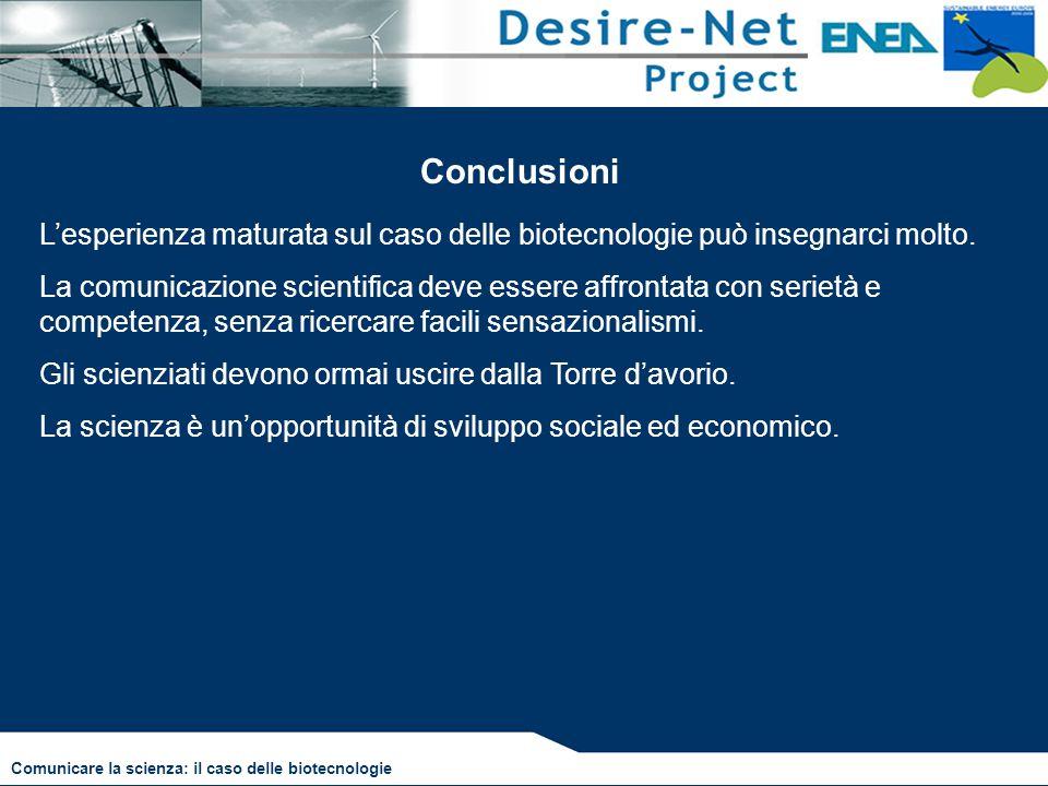 Conclusioni L'esperienza maturata sul caso delle biotecnologie può insegnarci molto.