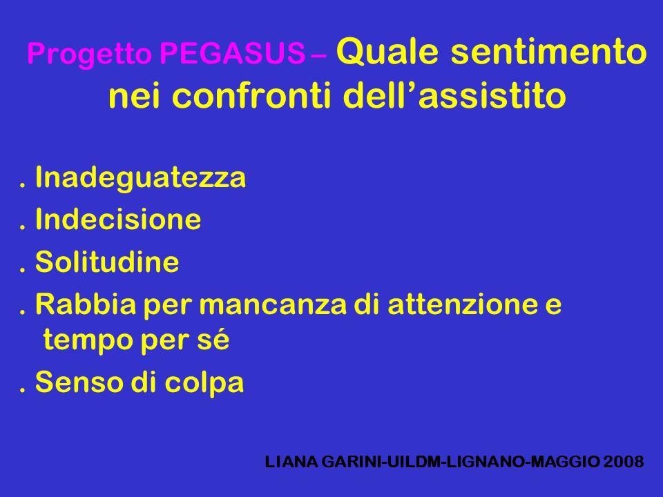 Progetto PEGASUS – Quale sentimento nei confronti dell'assistito