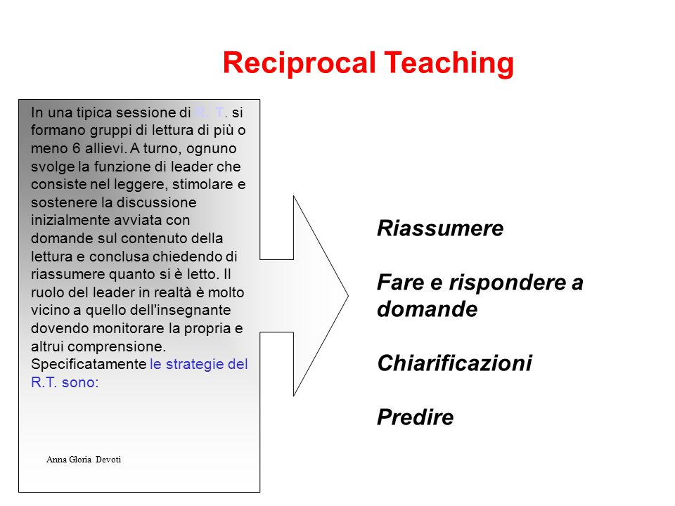 Reciprocal Teaching Riassumere Fare e rispondere a domande