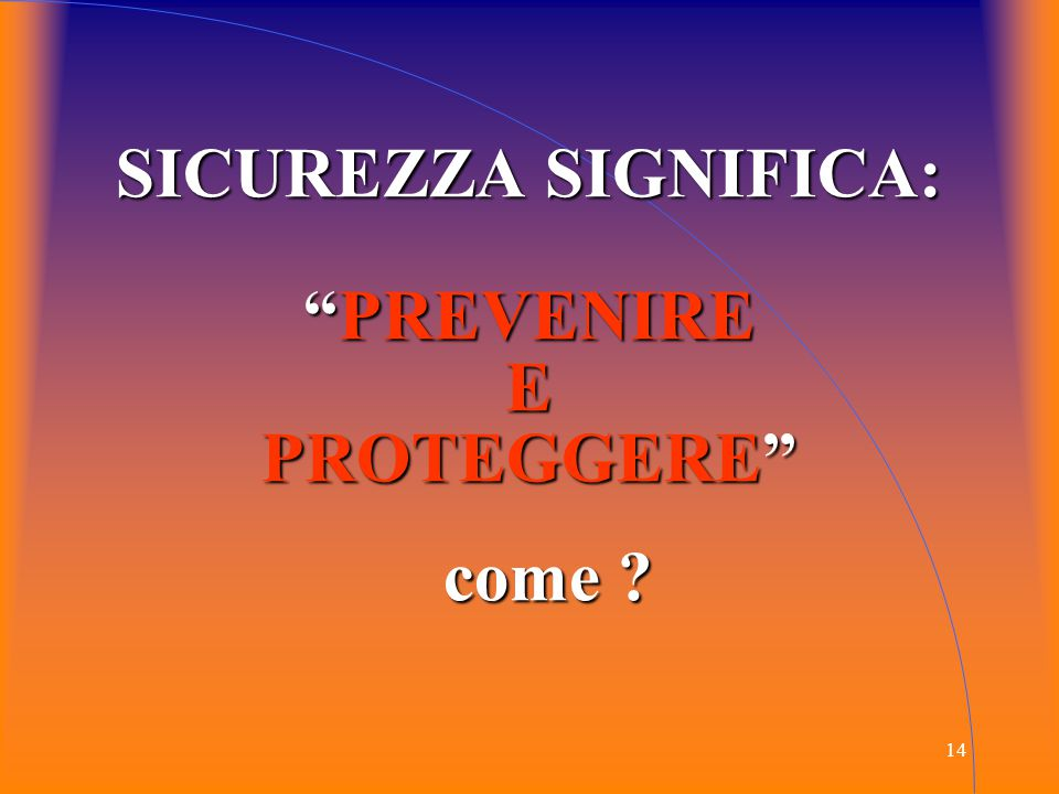 SICUREZZA SIGNIFICA: PREVENIRE E PROTEGGERE come