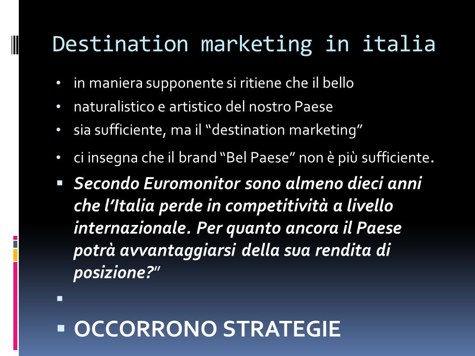 Destination marketing in italia