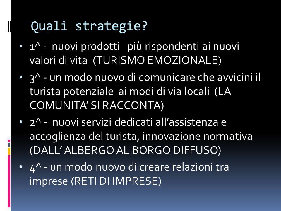 Quali strategie 1^ - nuovi prodotti più rispondenti ai nuovi valori di vita (TURISMO EMOZIONALE)