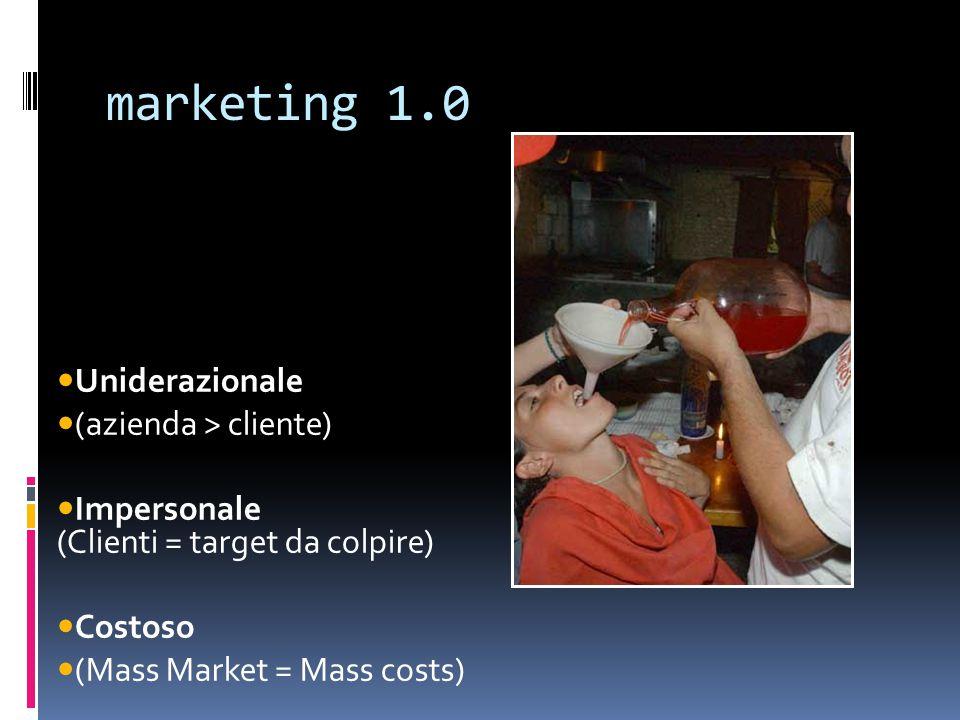 marketing 1.0 Uniderazionale (azienda > cliente)