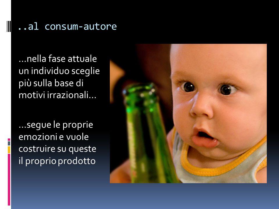 ..al consum-autore …nella fase attuale un individuo sceglie più sulla base di motivi irrazionali…