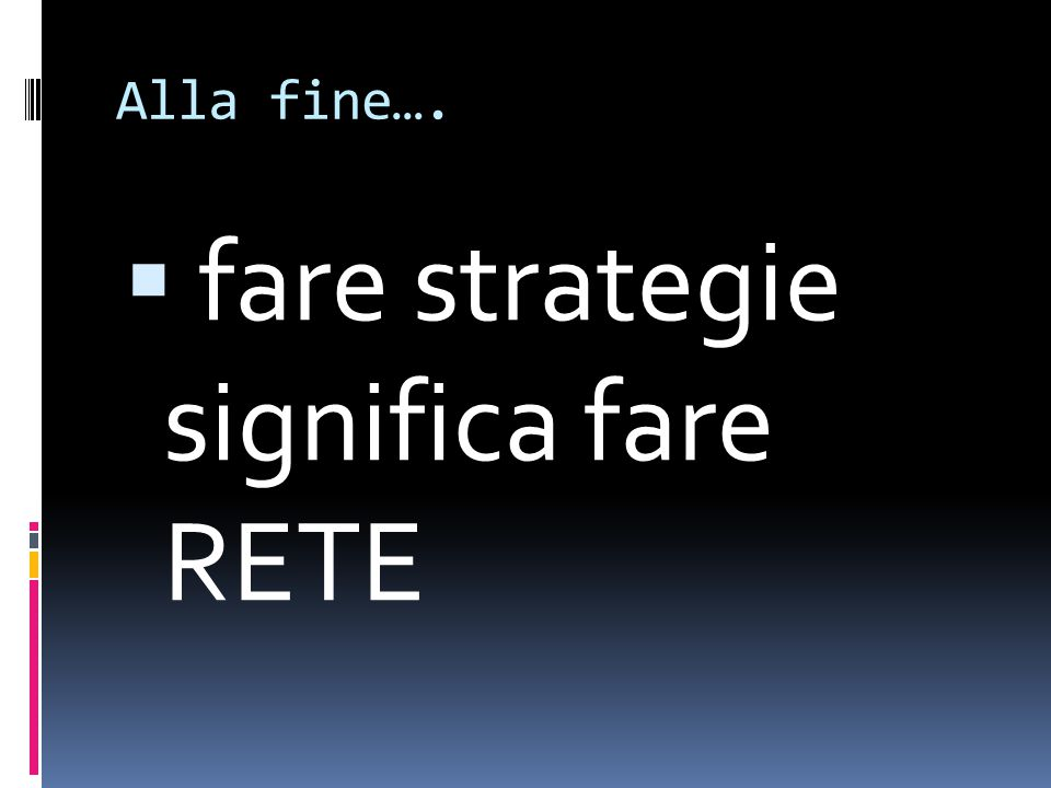fare strategie significa fare RETE