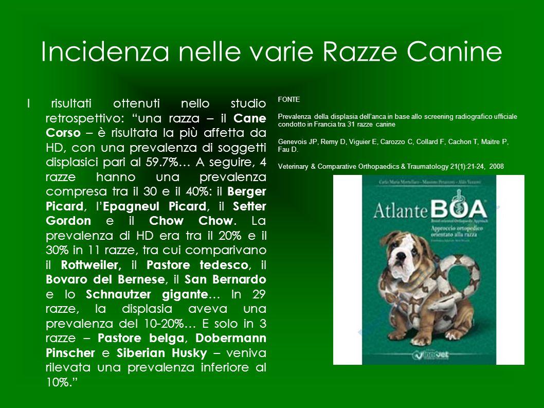 Incidenza nelle varie Razze Canine