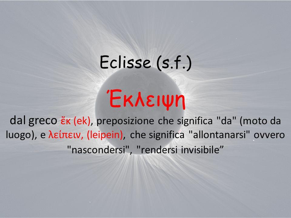 Eclisse (s.f.) Έκλειψη dal greco ἔκ (ek), preposizione che significa da (moto da luogo), e λείπειν, (leipein), che significa allontanarsi ovvero nascondersi , rendersi invisibile