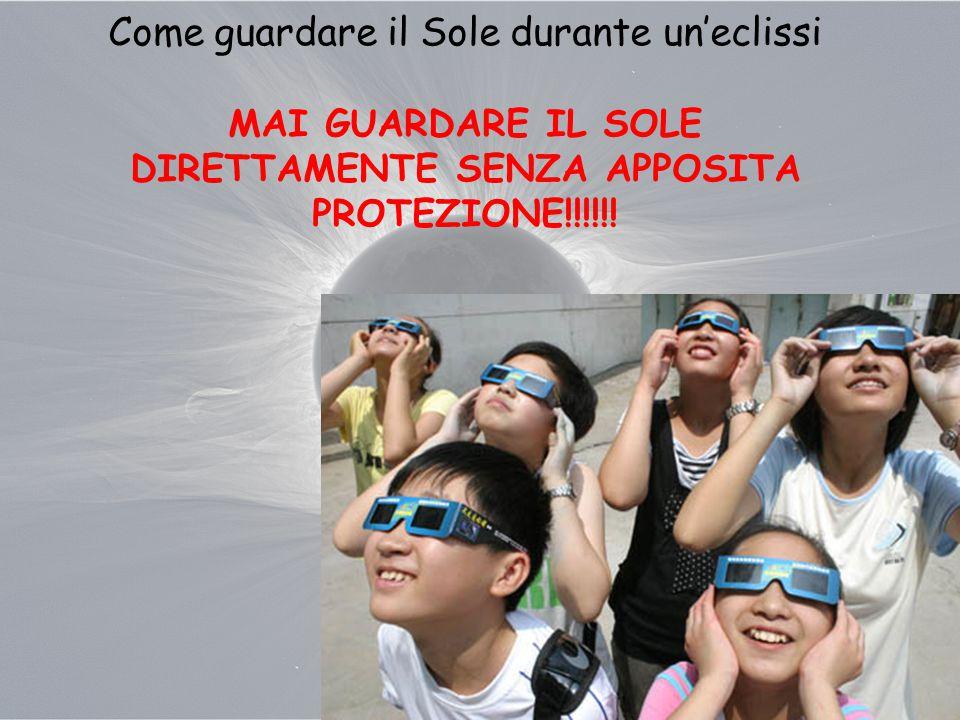 Come guardare il Sole durante un'eclissi MAI GUARDARE IL SOLE DIRETTAMENTE SENZA APPOSITA PROTEZIONE!!!!!!