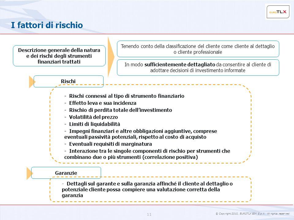 I fattori di rischio Tenendo conto della classificazione del cliente come cliente al dettaglio o cliente professionale.